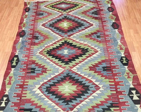 "5'4"" x 10' Antique Turkish Kilim Oriental Rug - 1940s - Hand Made - 100% Wool"