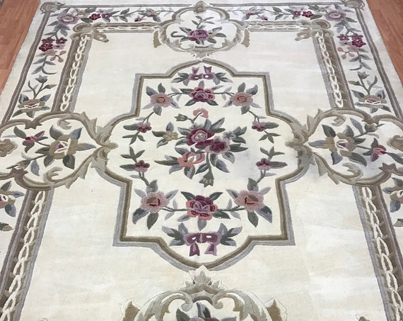"8' x 10'4"" Chinese Aubusson Oriental Rug - Full Pile - Hand Made - 100% Wool"