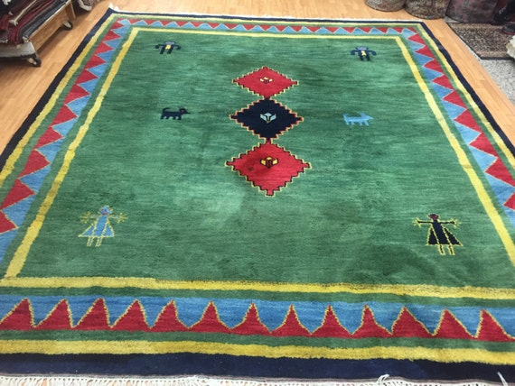 "8'7"" x 9'10"" Indian Gabbeh Oriental Rug - Full Pile - Hand Made - 100% Wool"