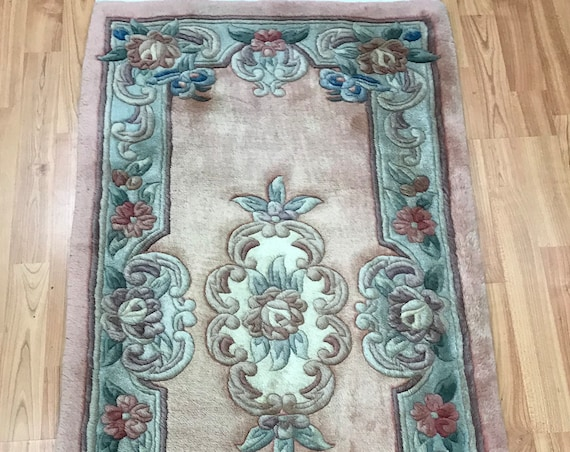 "2' x 4'1"" Chinese Aubusson Oriental Rug - 90 Line - Full Pile - Hand Made - 100% Wool"