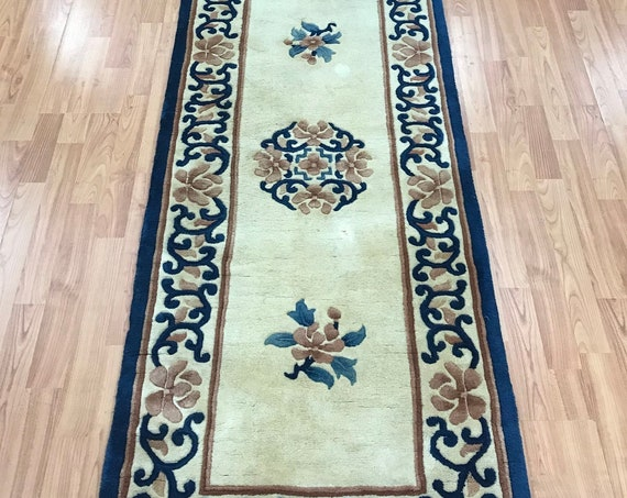 "2'3"" x 11' Chinese Aubusson Oriental Rug Floor Runner - Hand Made - 100% Wool"