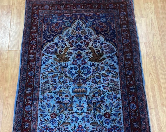 "2'2"" x 4'1"" Turkish Oriental Rug - 1970s - Hand Made - 100% Wool"