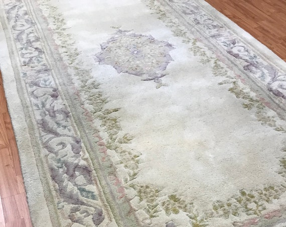 "4'8"" x 10' Chinese Aubusson Oriental Rug Floor Runner - Hand Made - 100% Wool"