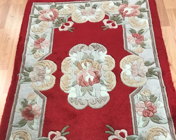"""2' x 3'2"""" Chinese Aubusson Oriental Rug - Full Pile - Hand Made - 100% Wool"""