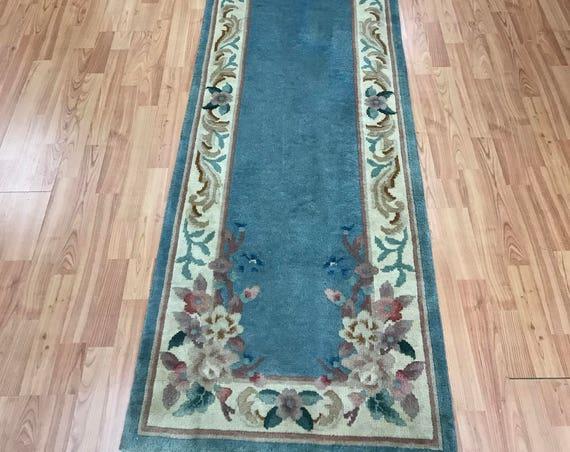 "2'3"" x 11' Chinese Art Deco Oriental Rug Floor Runner - Hand Made - 100% Wool"
