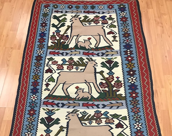 "3'3"" x 6'6"" Turkish Kilim (Kelim) Two-Sided Oriental Rug - Hand Made - 100% Wool"