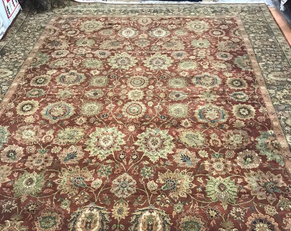 "10' x 14'6"" Indian Agra Oriental Rug - Full Pile - Hand Made - 100% Wool"