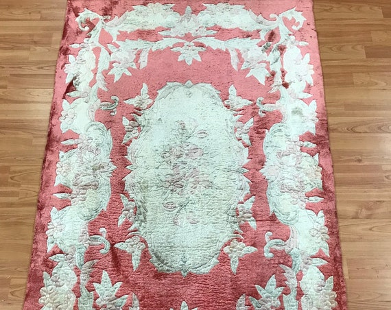 3' x 5' Chinese Aubusson Oriental Rug - Full Pile - Hand Made - 100% Silk