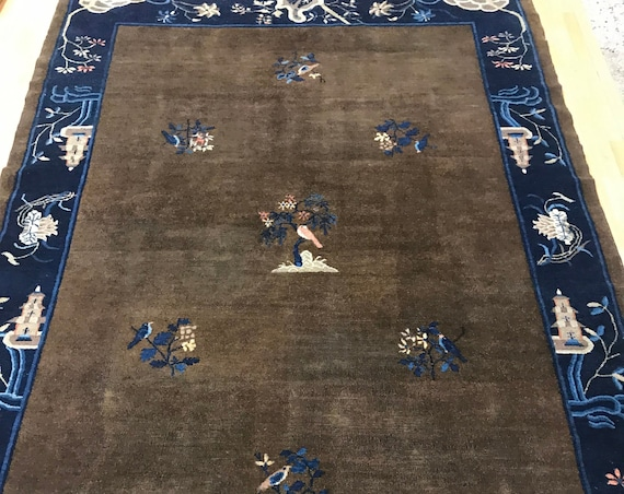 "6'8"" x 9'7"" Chinese Art Deco Oriental Rug - Hand Made - 100% Wool"
