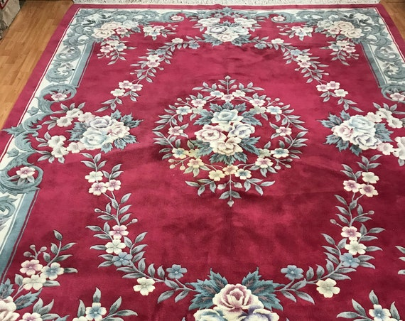 "8'4"" x 11'6"" Chinese Aubusson Oriental Rug - Full Pile - Hand Made - 100% Wool"