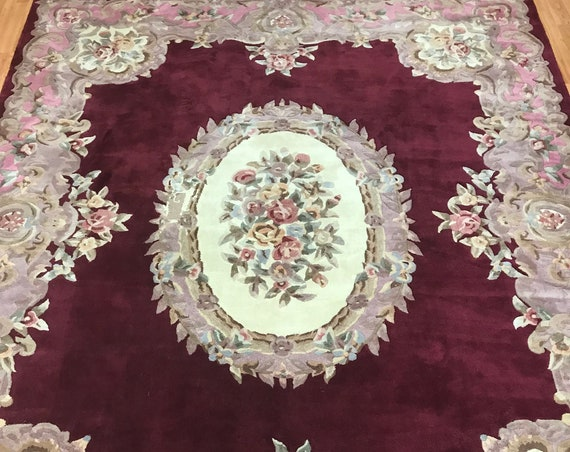 """8' x 10'2"""" Chinese Aubusson Oriental Rug - Full Pile - Hand Made - 100% Wool"""
