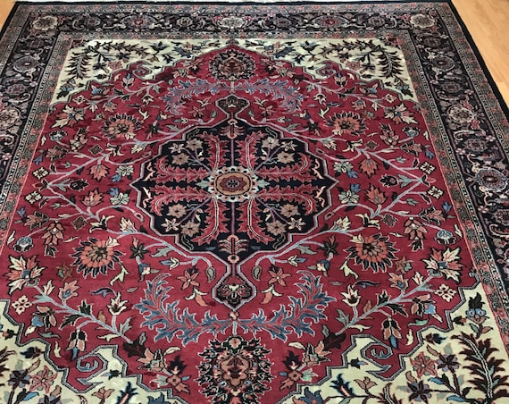 "8'1"" x 10'2"" Indian Morsh Oriental Rug - Full Pile - Hand Made - 100% Wool"