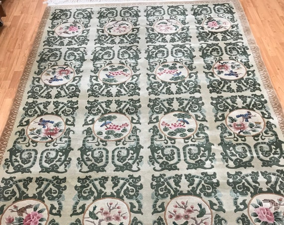 6' x 9' Chinese Garden Design Oriental Rug - Hand Made - Full Pile - 100% Wool