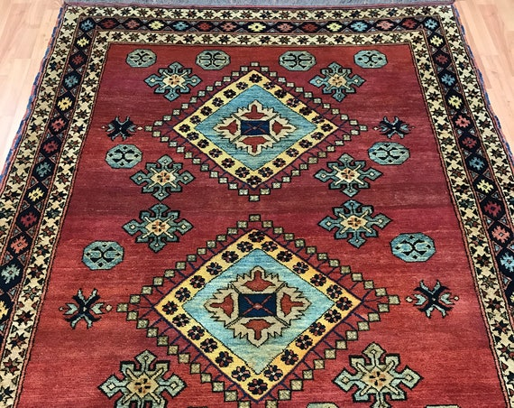 "4'8"" x 6'1"" Pakistani Kazak Oriental Rug - Hand Made - 100% Wool - Vegetable Dye"