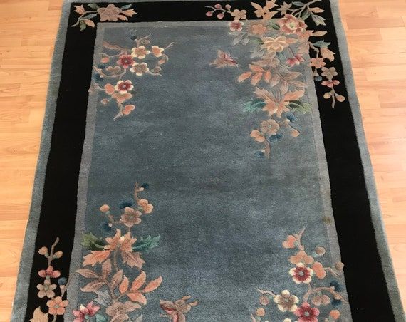 "3'6"" x 5'6"" Chinese Art Deco Oriental Rug - Hand Made - 100% Wool"