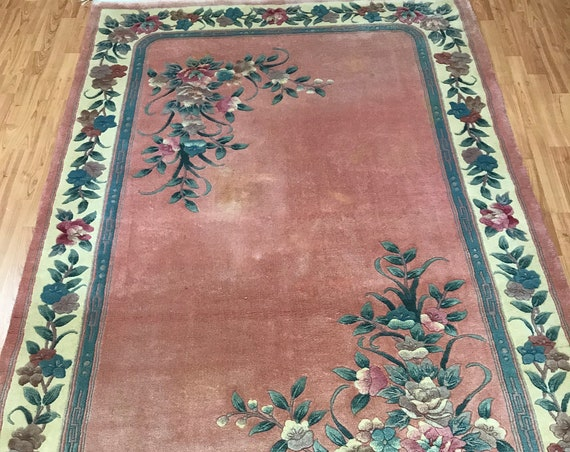 "5'2"" x 8'3"" Chinese Aubusson Oriental Rug - 90 Line - Hand Made - 100% Wool"