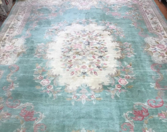 10' x 14' Chinese Aubusson Oriental Rug - 1950s - Hand Made - 100% Wool