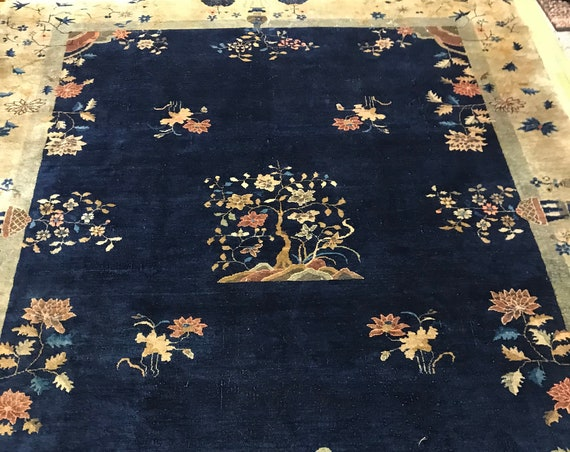 """9'1""""' x 11'5"""" Antique Chinese Art Deco Oriental Rug - 1910s - Hand Made"""