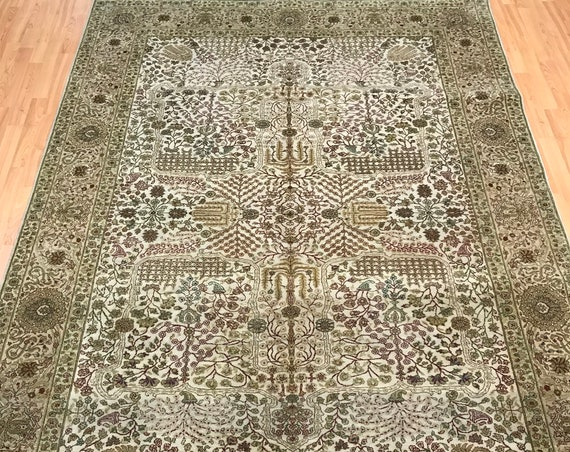 "6'1"" x 9'2"" Indian Oushak Oriental Rug - 300 KPSI - Hand Made - 100% Wool"