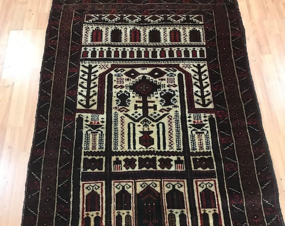 "3' x 4'9"" Afghan Kazak Oriental Rug - Full Pile - Hand Made - 100% Wool"