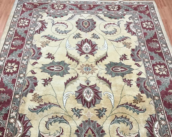 "5'6"" x 7'2"" New Pakistani Peshawar Oriental Rug - Hand Made - 100% Wool - Veg Dye"