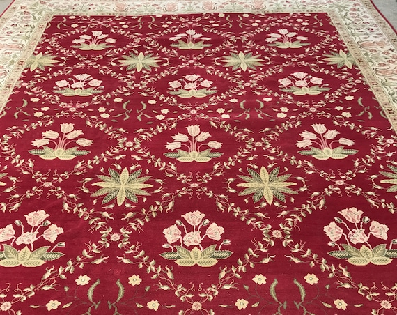 "12' x 14'7"" Pakistani Peshawar Oriental Rug - Vegetable Dye - Hand Made - 100% Wool"