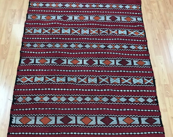 "3'4"" x 5'9"" Moroccan Kilim Runner Oriental Rug - 1980s - Hand Made - 100% Wool"