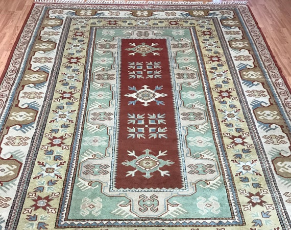 7' x 10' Turkish Kazak Oriental Rug - 1950s - Hand Made - 100% Wool - Vegetable Dye