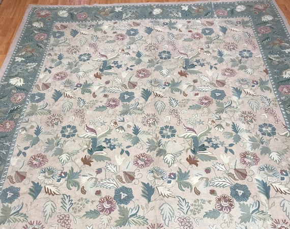 8' x 10' Chinese Stitch Work Oriental Rug - Hand Made - 100% Wool