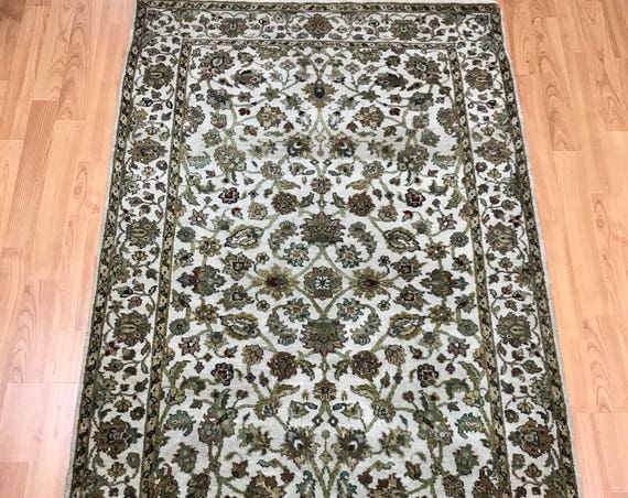 3' x 5' Indian Kashan Oriental Rug - Full Pile - Hand Made - 100% Wool