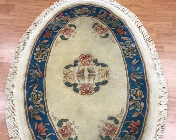 "3'1"" x 5'1"" Oval Chinese Aubusson Oriental Rug - Hand Made - 100% Wool"