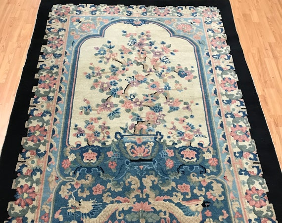 "5' x 7'9"" Antique Chinese Art Deco Oriental Rug - 1930s - Hand Made - 100% Wool"