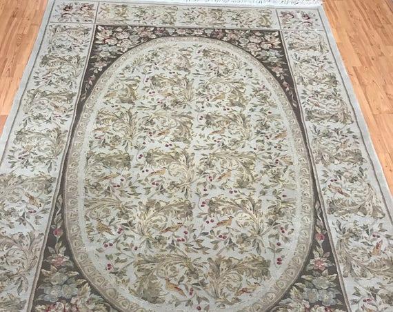 """5'9"""" x 9' Sino Chinese Oriental Rug - Wool & Silk - Hand Made"""