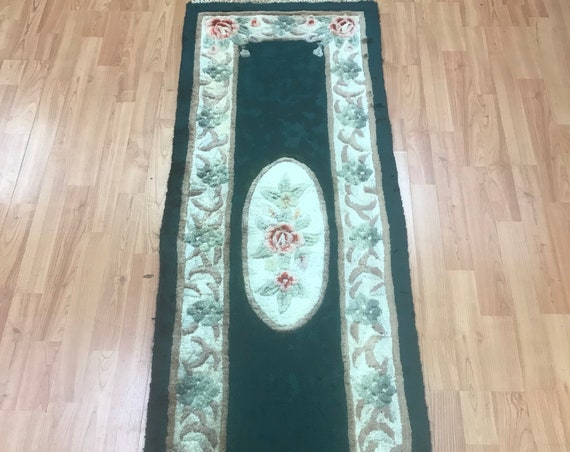 "1'9"" x 5'5"" Chinese Aubusson Oriental Rug - Tufted - Hand Made - 100% Wool"