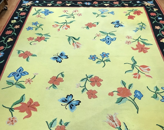 "8'7"" x 11'4"" American Stitch Work Oriental Rug - Yellow - Flat Weave - Hand Made"