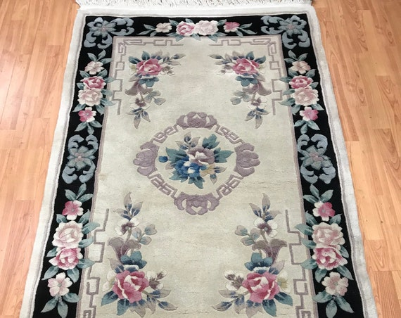 """3'7"""" x 5'8"""" Chinese Aubusson Oriental Rug - Full Pile - Hand Made - 100% Wool"""