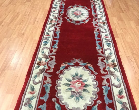 "2'6"" x 12' Chinese Aubusson Floor Runner Oriental Rug - Hand Made - 100% Wool"