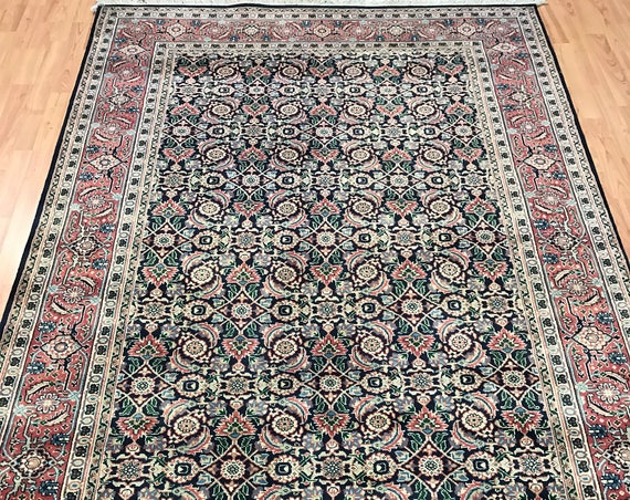 5' x 8' Indian Herati Fish Design Oriental Rug - Hand Made - 100% Wool