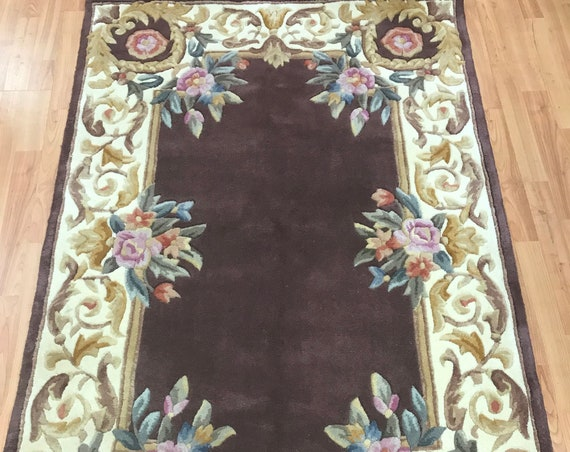 "3'6"" x 5'6"" Chinese Art Deco Oriental Rug - Full Pile - Hand Made - 100% Wool"