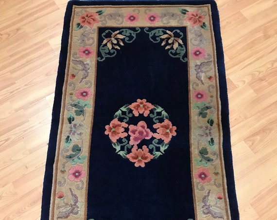 "2'3"" x 4'3"" Chinese Aubusson Oriental Rug - Full Pile - Hand Made - 100% Wool"