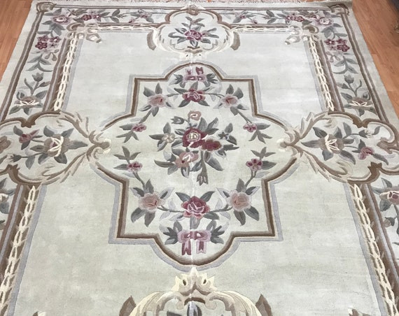 "8'1"" x 10'6"" Chinese Aubusson Oriental Rug - Hand Made - 100% Wool"