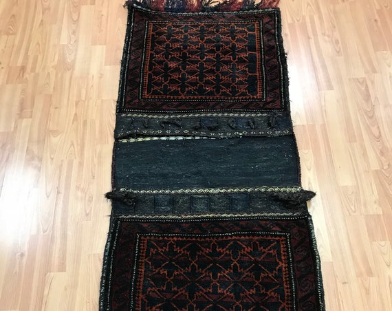 2' x 5' Afghan Turkeman Decorative Saddle Bag Oriental Rug - 1970s - Hand Made