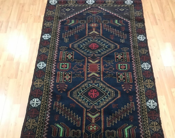 "3'4"" x 6'6"" Afghan Kazak Oriental Rug - Full Pile - Hand Made - 100% Wool"