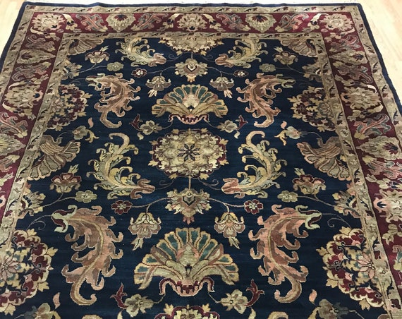 8' x 10' Indian Agra Oriental Rug - Dark Blue - Full Pile - Hand Made - 100% Wool
