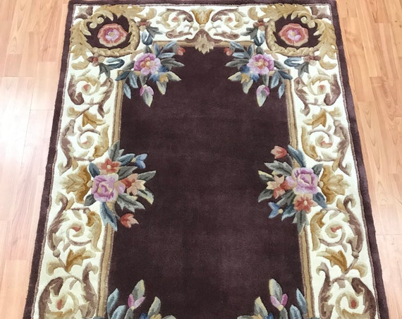 "3'6"" x 5'7"" Chinese Aubusson Oriental Rug - Full Pile - Hand Made - 100% Wool"