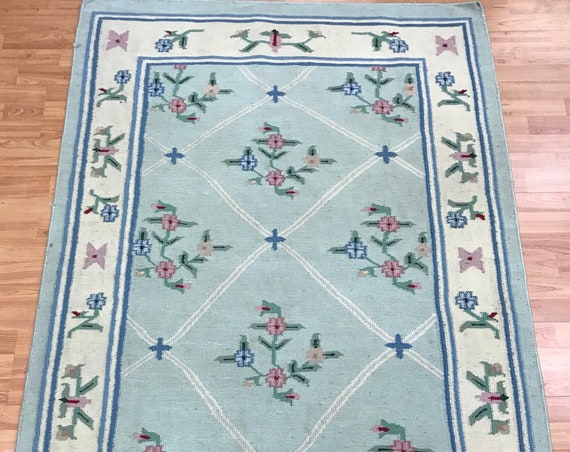 "4' x 5'9"" Indian Kilim Oriental Rug - Flat Weave - Hand Made - 100% Wool"