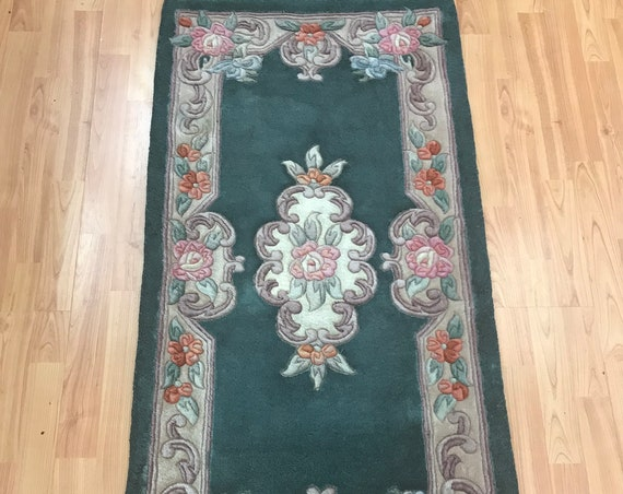 "2'1"" x 4'1"" Chinese Aubusson Oriental Rug - Full Pile - Hand Made - 100% Wool"
