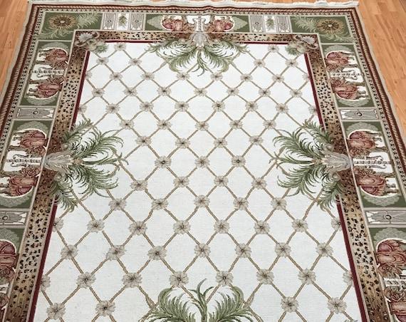 "7'6"" x 9'8"" Chinese Sumak Flat Weave Oriental Rug - Hand Made - 100% Wool"