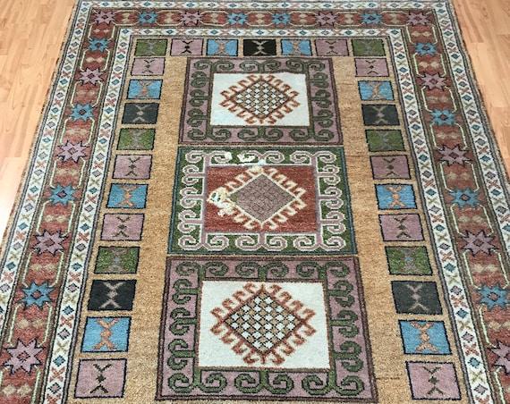 "5'8"" x 8' Himalayan Kazak Oriental Rug - 1950s - Hand Made - 100% Wool"