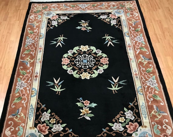 "5'6"" x 8'6"" Chinese Aubusson Oriental Rug - Full Pile - Hand Made - 100% Wool"
